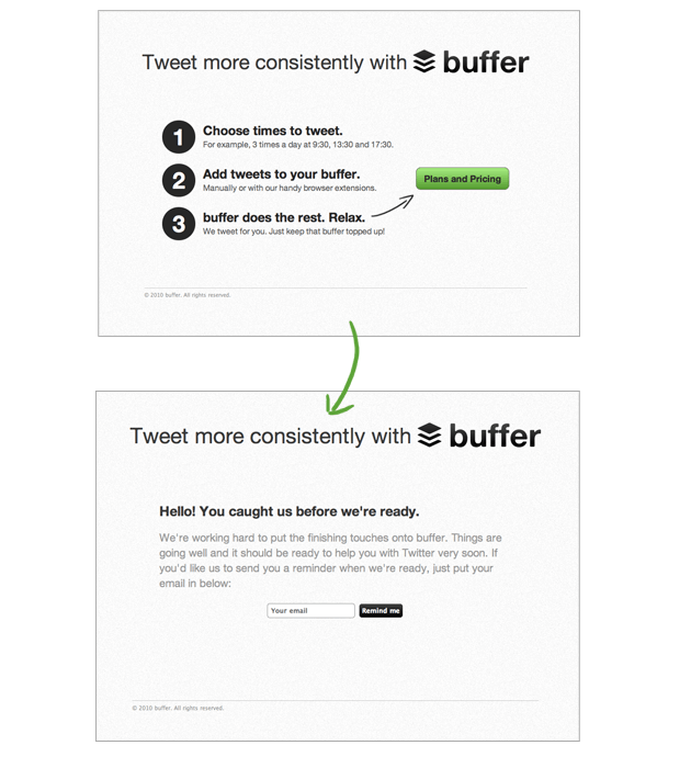 minimum viable product mvp example — buffer landing page