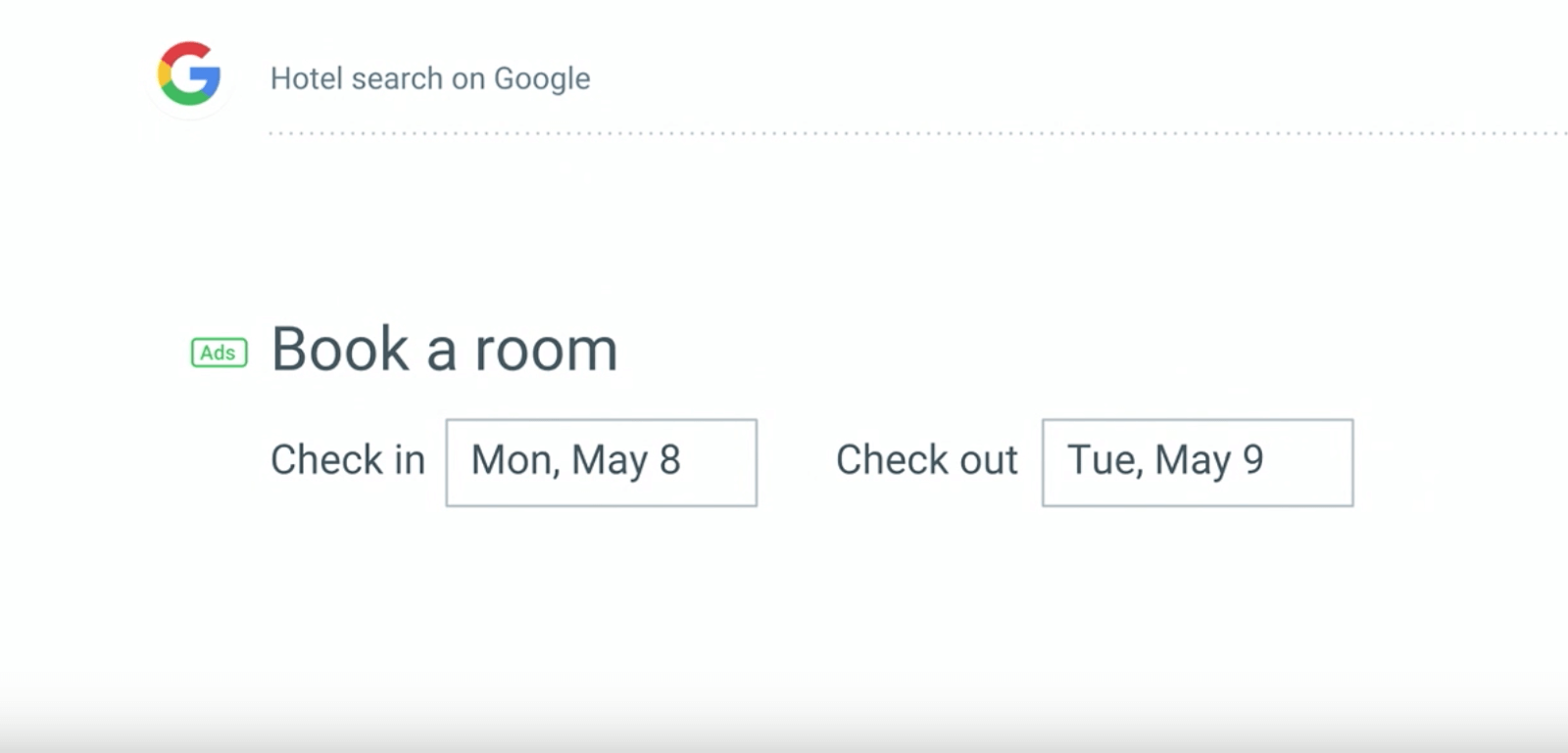 Hotel Search Google UX Writing