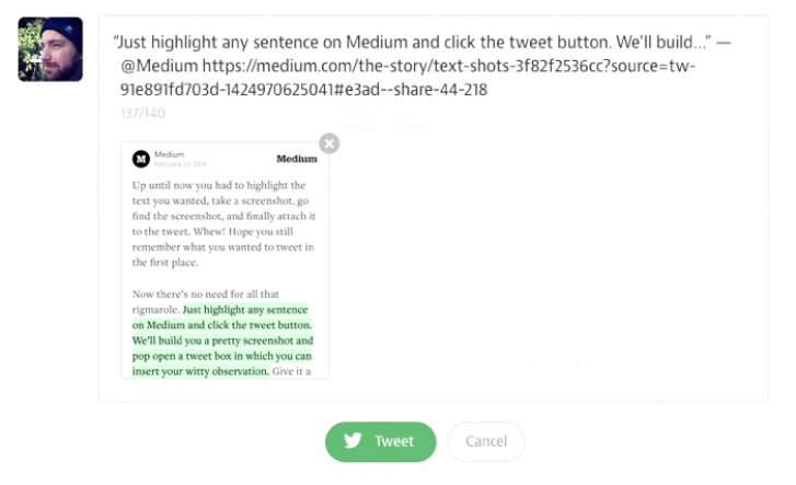 Medium Highlights Tweet Text Shots
